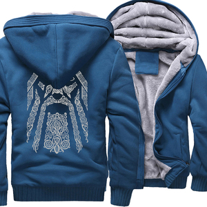 Image 5 - Winter Sweatshirt Raglan Print Jas Trainingspak Odin Vikings Truien Voor Mannen 2019 Nieuwe Mode Wollen Voering Camouflage Mouw Jassen