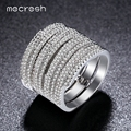 Mecresh Trendy Micro AAA CZ Layer Pave Wedding Rings White Gold Plated 2017 New Fashion Jewelry for Women Female Anel JZ048