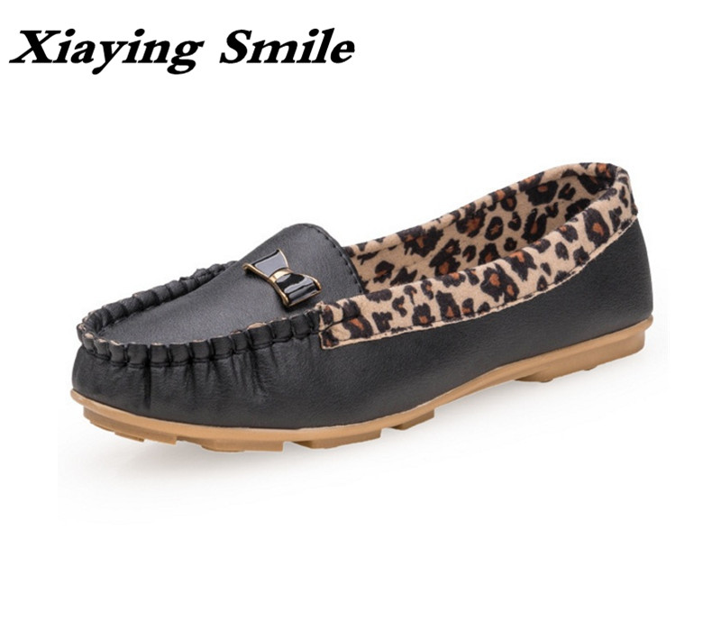 Xiaying Smile Women Flats Summer Style Shoes Solid Sweet Bowtie Fashion Casual Slip On Loafers Shallow Leopard Round Toe Shoes plus size 34 41 black khaki lace bow flats shoes for womens ds219 fashion round toe bowtie sweet spring summer fall flats shoes