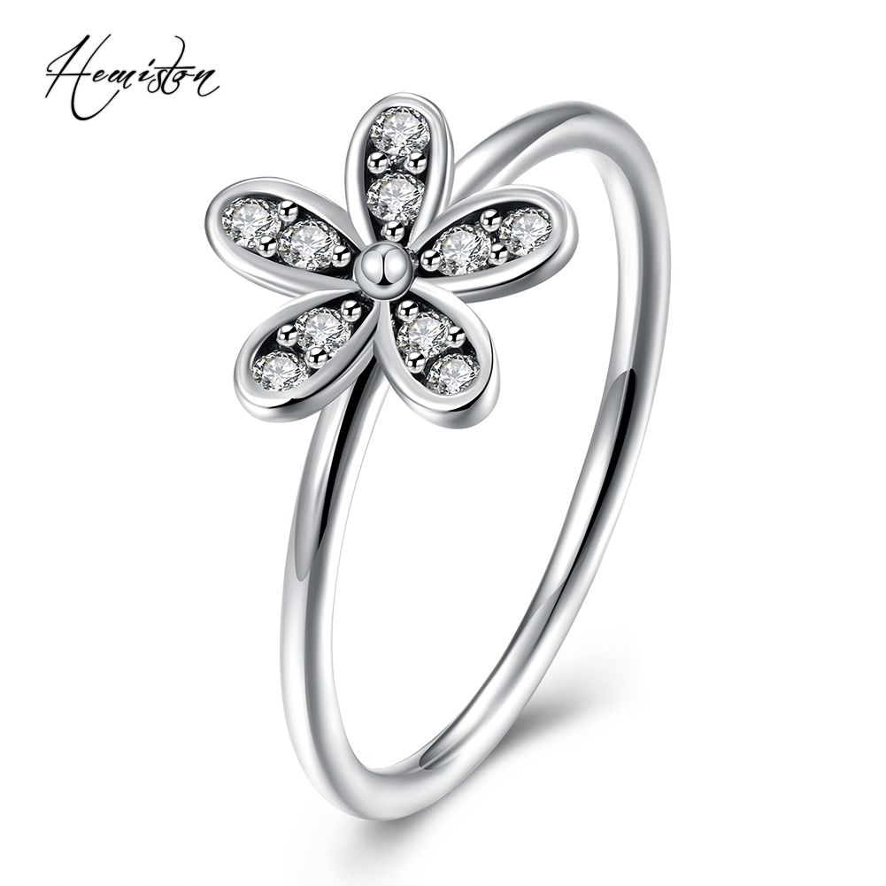 Hemiston Luxury Antique 100% 925 Sterling Silver Daisy Flower Rings Micro CZ Brand Rings for Women Wedding Jewelry PAR153