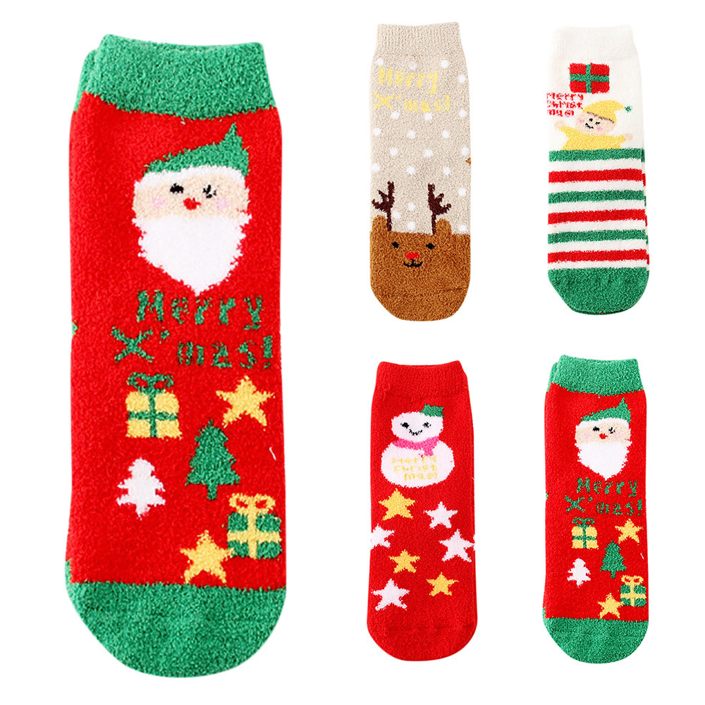 Christmas Printed Socks Fun Elk Coral Fleece Women Slipper Socks christmas socks decoration christmas socks for santa 2019 #ss