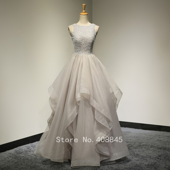 2017 Real Pictures Scoop Neck Beading Lace Ruffle Organza Gray Long Prom Dresses Evening Wedding Dress Vestido De Novia