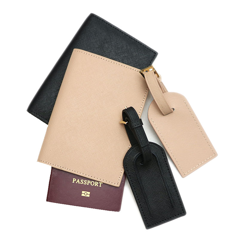 Fashion monogrammed initial letters unisex saffiano leather passport holder luggage tag passport cover set travel accessorries