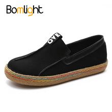 Bomlight 2017 Plus Size 42 43 Women Loafers Shoes Round Toe Oxford Shoes for Woman Casual Soft Bottom Flats Wide Slip-on Shoes