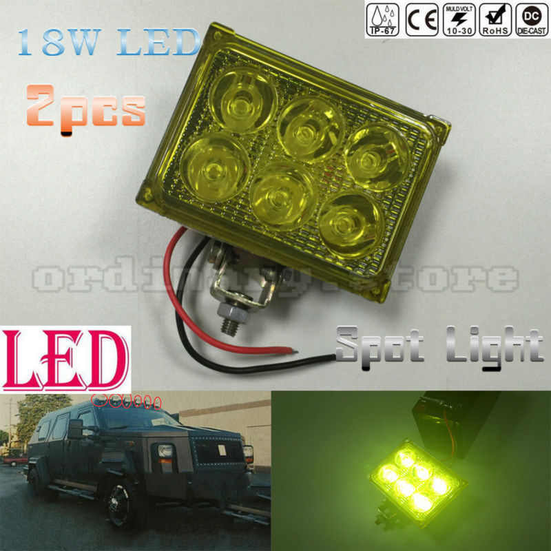 2pcs Super Bright 18W Amber Color LED Light Car Auto Truck Offroad SUV 4WD ATV Boat Bar Work Spot Driving Fog Night Safety Lamp
