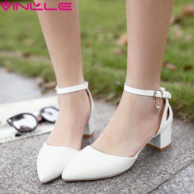 Szie VINLLE 43 de Las Mujeres Elegantes chunky med Talón zapato con Cierre Bombas señorita Dulce dedo del pie Acentuado cómodos Zapatos de La Princesa rosa blanca