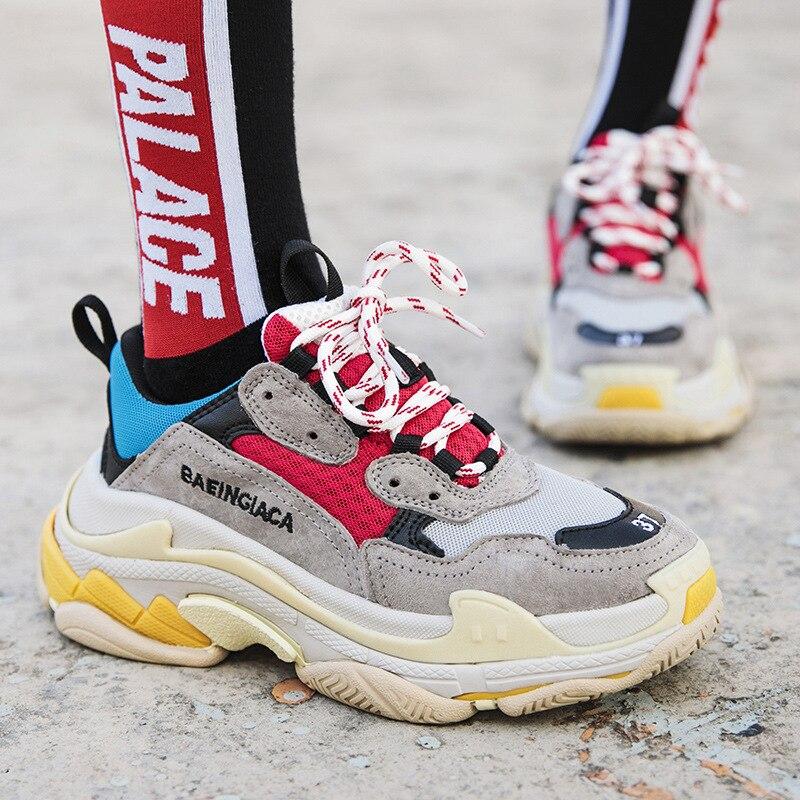 Ins super Лидер продаж обувь для влюбленных повседневные кроссовки Harajuku спортивная обувь пара шесть слоев чистый красный кроссовки модная прог