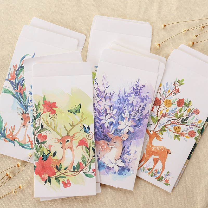 10 Pcs/lot Creative Forest Deer Envelopes Postcards Greeting Card Cover Sika Deer Kraft Paper Envelope Stationery Gift