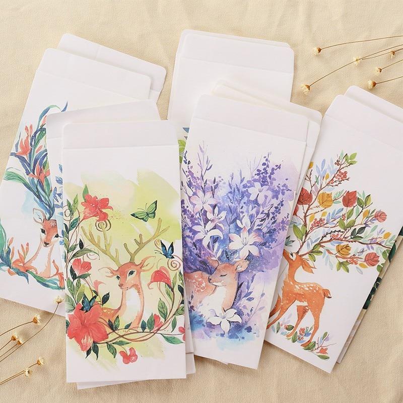 10 Pcs/lot Creative Forest Deer Envelopes Postcards Greeting Card Cover Sika Deer Kraft Paper Envelope Stationery Gift