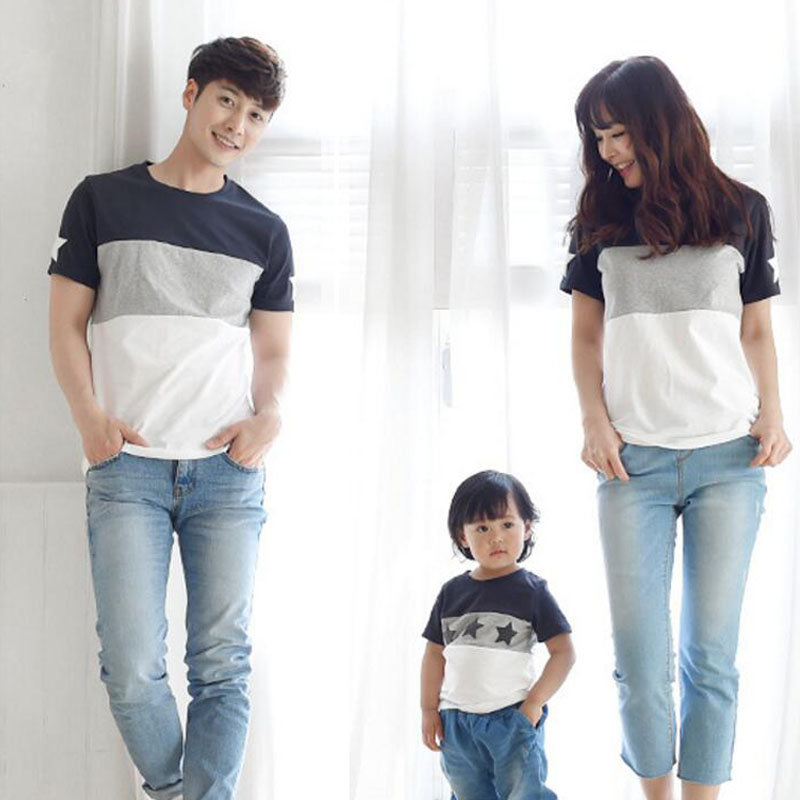 Family clothing 2018 Summer style Short-sleeve Star T-shirt Family Matching Outfits For Mother Daughter And Father Son Clothes mother and daughter clothes short sleeved t shirt dresses family matching outfits baby girl clothes girls clothing long dress