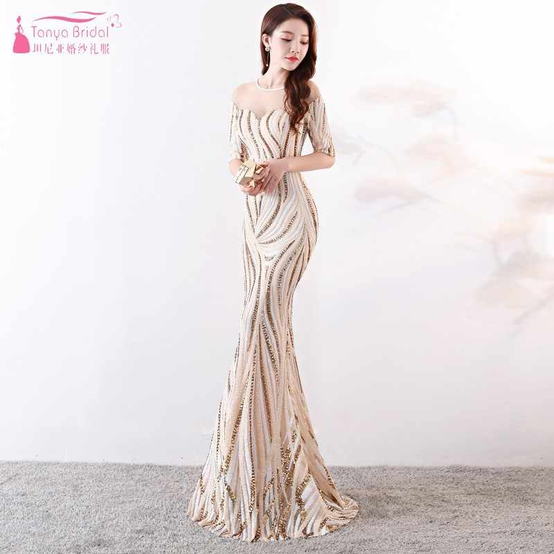 6eb14b9daed Half Sleeve Bridesmaid Dresses Champagne Mermaid Long Wedding Guest Dress  For Party robe demoiselle d
