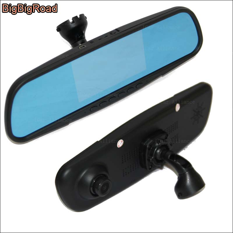 BigBigRoad Car DVR Blue Screen Rear view Mirror Dual Lens Video Recorder Dash Cam with special bracket For vw touran bigbigroad for vw tiguan routan car dvr blue screen dual lens rearview mirror video recorder 5 inch car black box night vision