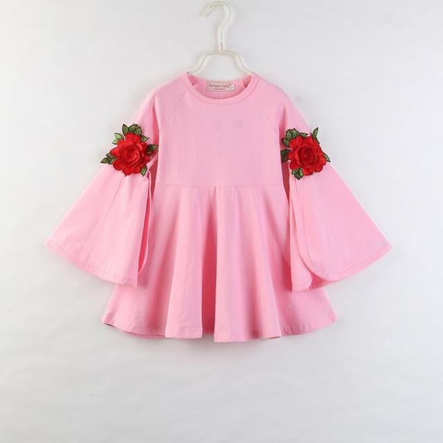 תינוקת ורוד רוז פרח שמלת אביב קיץ ארוך את צופר שרוול המפלגה תחרות חמוד נסיכת נדנדה טוטו שמלת בגדים