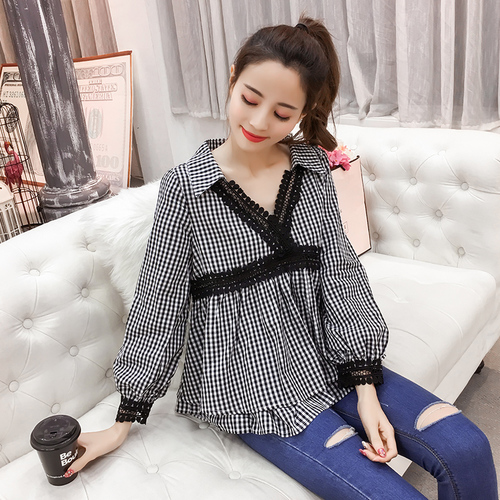 Spring Preppy Style Womens Shirts Spliced Lace Women Blouses V-neck Female Top Puff Sleeve Blusa Feminina Sweet Woman Cloth