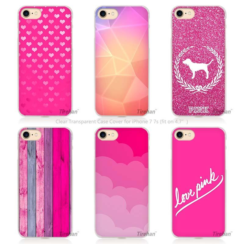 Pink sugar glitter Love cute Hard Transparent Phone Case Cover Coque for Apple iPhone 4 4s 5 5s SE 5C 6 6s 7 Plus