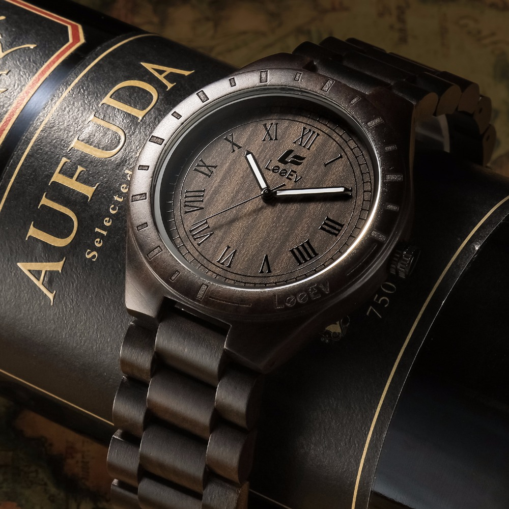 LeeEv Wood Watch Luxury 100% Natural Sandalwood Quartz Wooden Wristwatch for Men Christmas Gift Xmas zazac natural wood simple style watch men genuine leatehr casual bamboo watch handmade wooden quartz wristwatch women gift