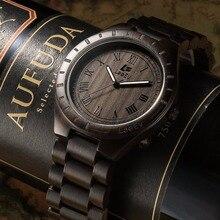 LeeEv Madera Reloj de Lujo 100% Reloj de pulsera de Madera de Sándalo Natural de Cuarzo para Los Hombres de Regalo de Navidad de Navidad