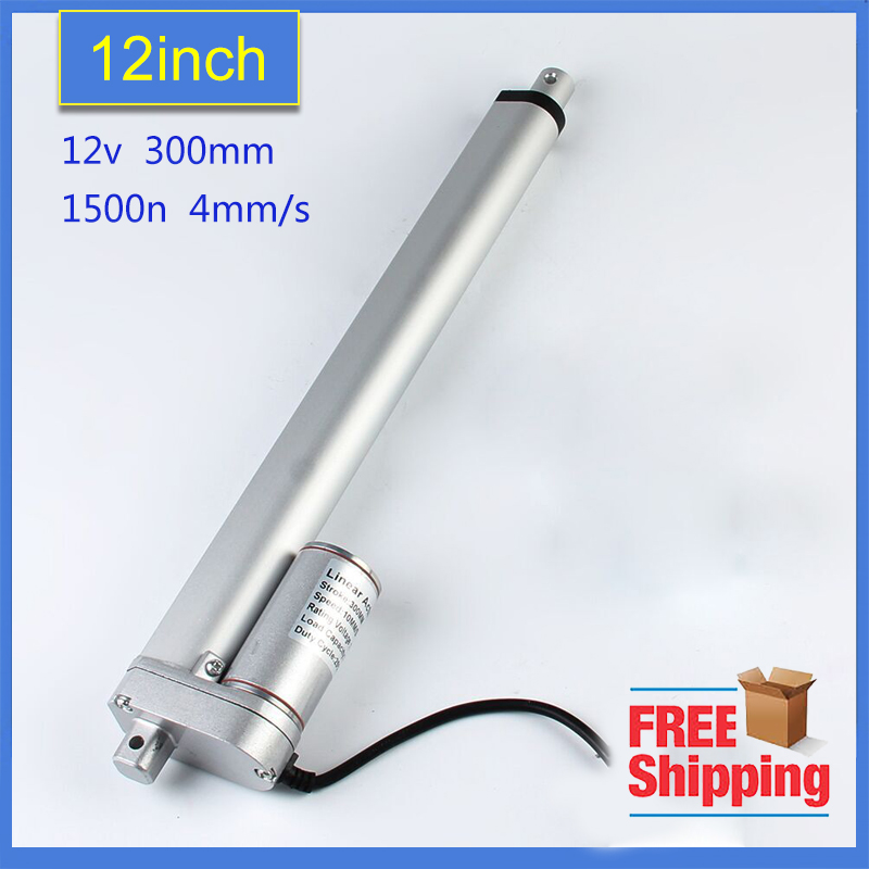 Freeshipping 300mm stroke 12V DC electric linear actuator,solar tracker,1500N=150KG load 4 mm/sec ,for electric sofa, bed