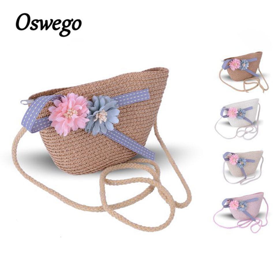 Oswego Mini Straw Bags Summer Beach Kid Girls Bag Boho Style Elegant Zipper Daisy Bucket Ladies Women Crossbody Bag