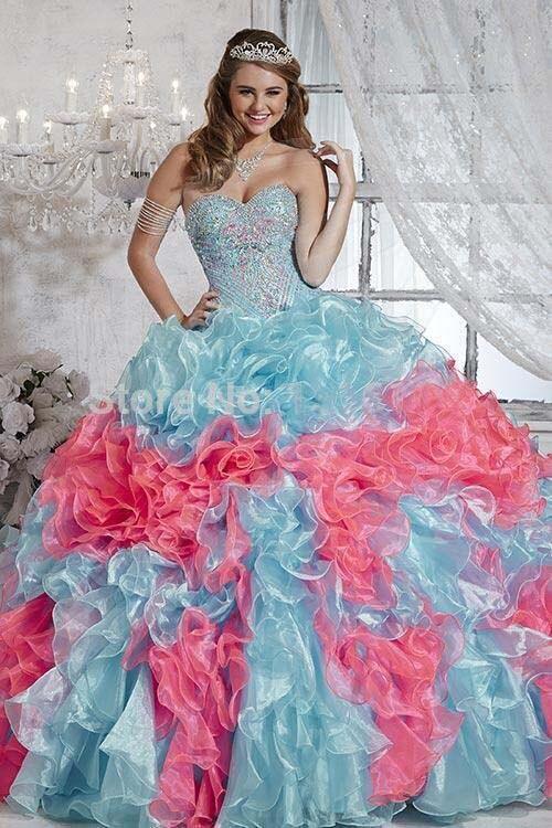 2016 Traditionellen Blau Rosa Quinceanera Kleider Bunte Dropped Rüschen Organza Prinzessin Braut Süße 15 16 Kleider Plus Größe Grade Produkte Nach QualitäT
