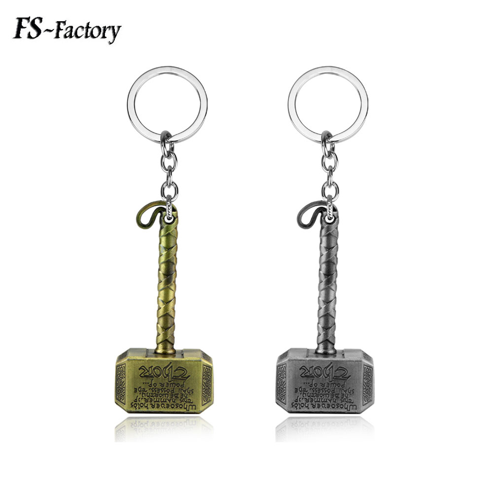 Hot Sell The Avengers Alliance Thor Hammer Keychain High Quality Key Chains Movie Fans Car Keyring Jewelry high quality new fashion 47 42mm 1 85 1 65 inches the flower of life the seed of life key chains fashion keyring