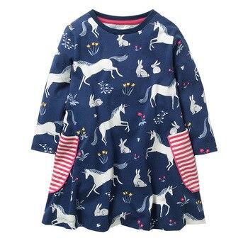 Kids Girls Autumn Cartoons Horse Holiday Dress Striped Pockets Western Fashion Sweet Kids New Dress