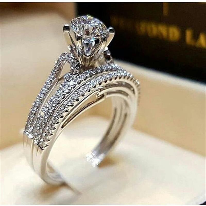2 шт. свадебный набор элегантные кольца для женщин серебряного цвета Свадебные обручальные модные украшения с полностью блестящим Cubiz женское кольцо с цирконом - Цвет основного камня: D