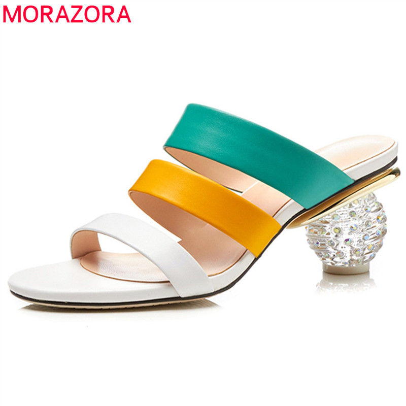MORAZORA 2020 fashion summer shoes woman elegant prom mules shoes mixed colors women slippers genuine leather