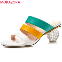 MORAZORA 2020 fashion summer shoes woman elegant prom mules shoes mixed colors women slippers genuine leather shoes comfortable