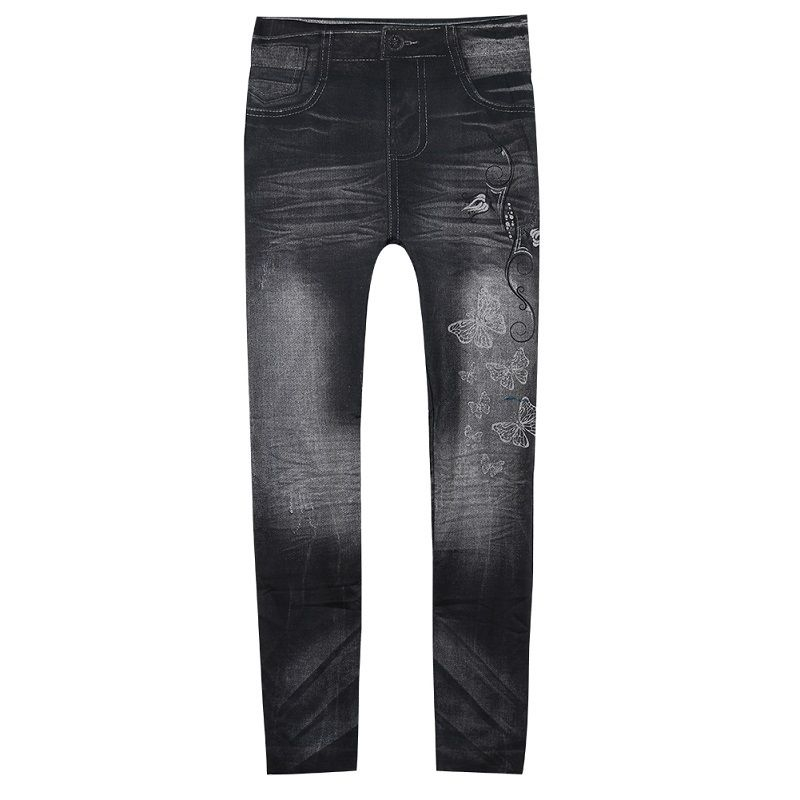 Women ladies low Waist Slim skinny Pencil Pants fashion stars butterfly print faux denim Jeans toursers