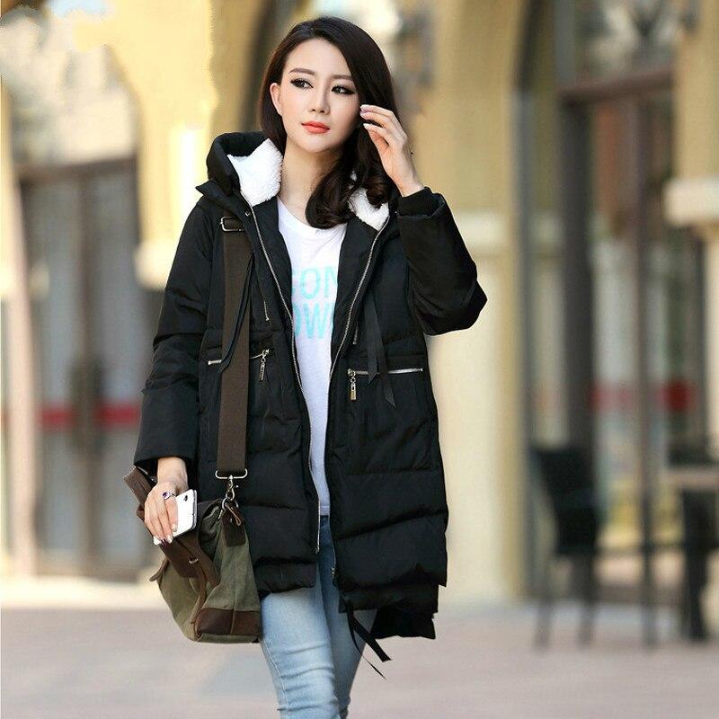 Winter Women Hooded Warm   Parka   Basic Long Coats   Parka   Outwear Cotton Zipper Fashion Jacket S-4XL Plus Size Casual Female Coats