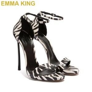 Sexy Frauen Leopard 12CM Hohe Ferse Sandalen Offene spitze Schnalle Stiletto Sommer Sandalen Mode Party Schuhe Frau