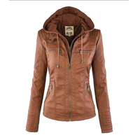 Autumn And Winter Jacket Fashion Splicing Leather Jacket Women Pu Leather Casual Fake Two Piece Ladies
