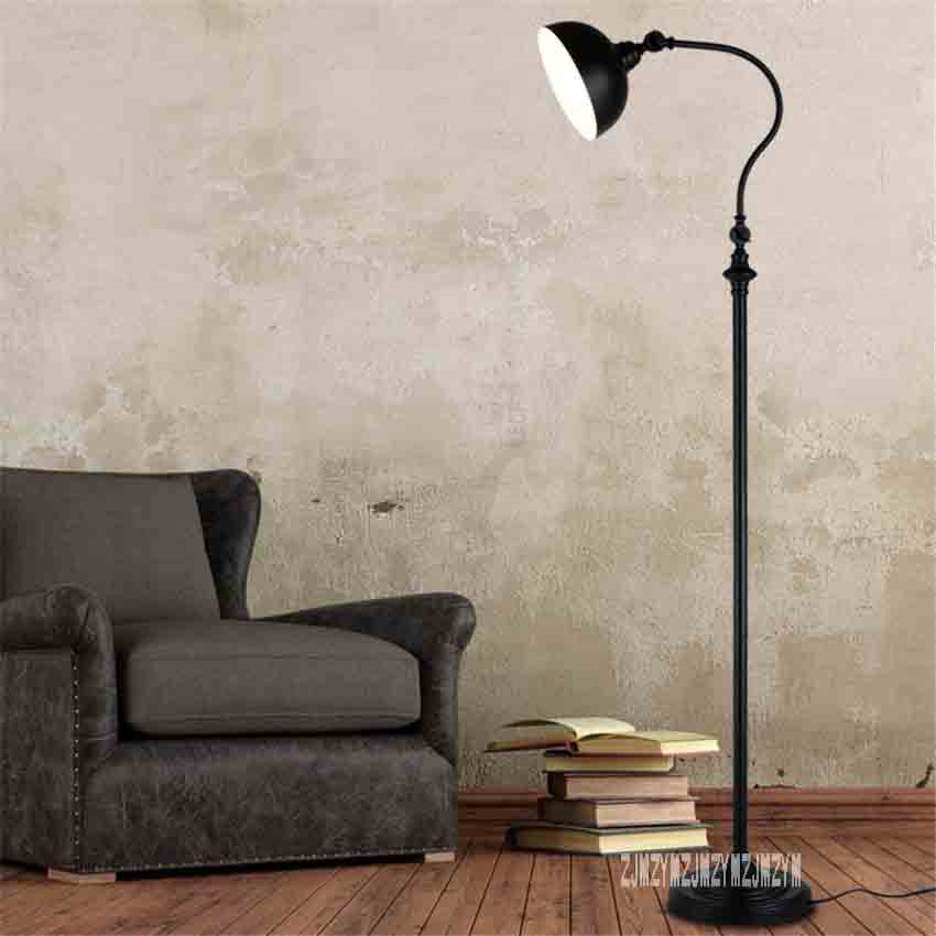 Nordic Retro Simple Vertical Lamp Living Room Study Smart Remote Control Eye Protection Floor For Bedroom LED Lighting