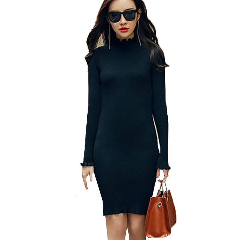 2017 New Women Sweater Dress Spring Autumn Turtleneck Knitted Dresses Ladies Sexy Slim Bodycon Dress Robes Party Vestidos AB008 new women spring autumn knitted sweater dress cotton slim pullover female bodycon party club wear dresses