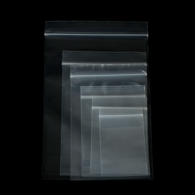 100pcs 4X6/5X7/6X8/7X10CM Transparent Self Sealing Zip Zipper Lock Plastic Bags Clear Ziplock Bags For Jewelry Packaging