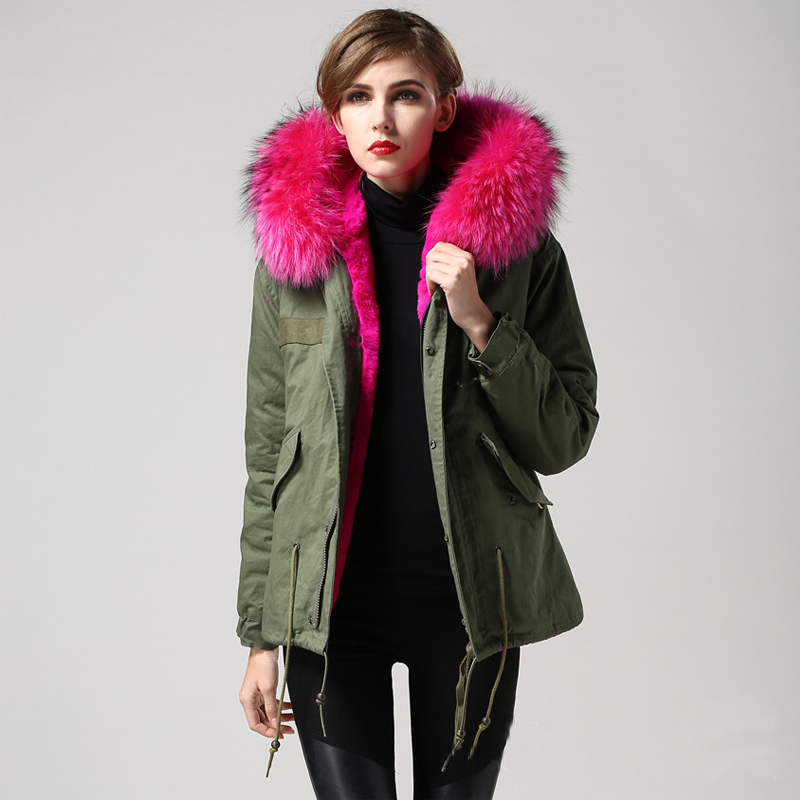 2018 Winter Jacket Women Army Green Parka Thick Large Real Raccoon Fur Collar Hooded Fur Liner Luxury Outwear Free DHL Shipping