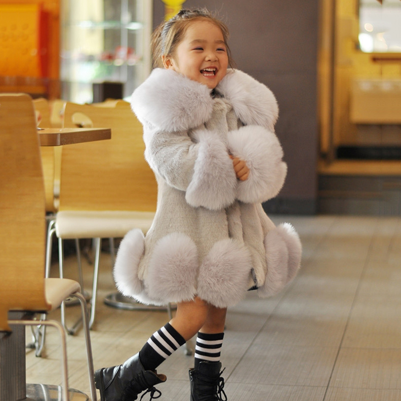 Sweet Child Kids Girls Faux Fur Furry Warm Jacket Parka Trench Coat Fashion 1-8Y city 2018 women winter trench coat with sash faux fur coat maxi length novelty fashion slim trench coat female trench coat 541