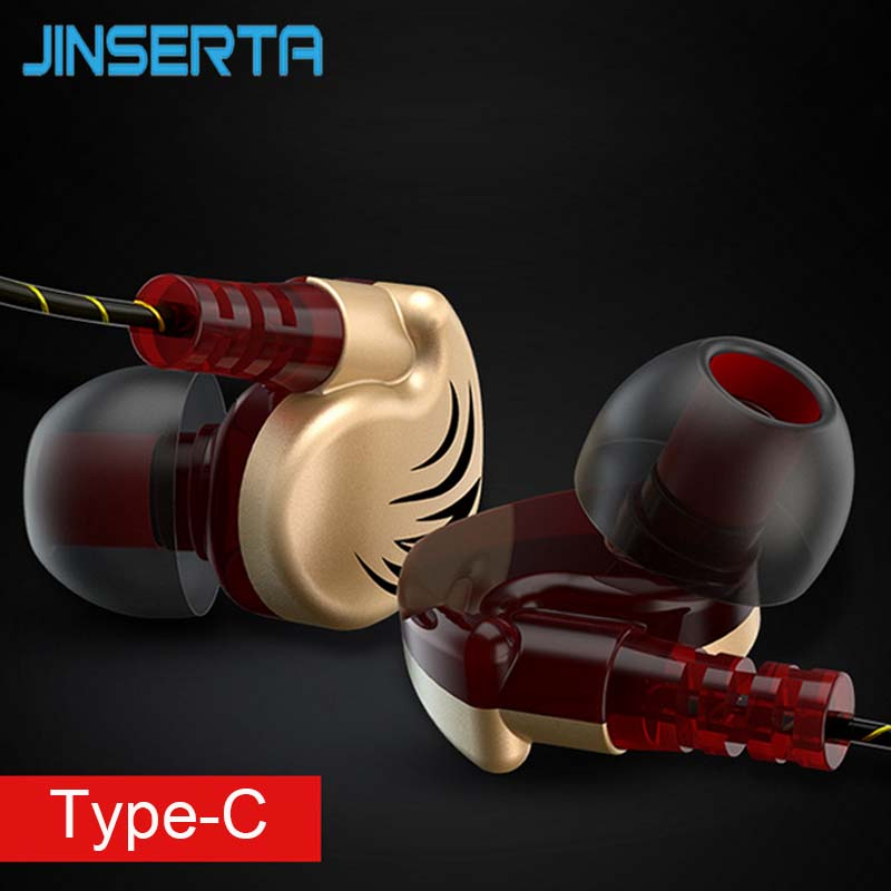 JINSERTA Type-C Wired Earphone Sports In Ear Gold Plated Metal Earphone for Xiaomi 4C Letv Oneplus 2 Cellphone PC