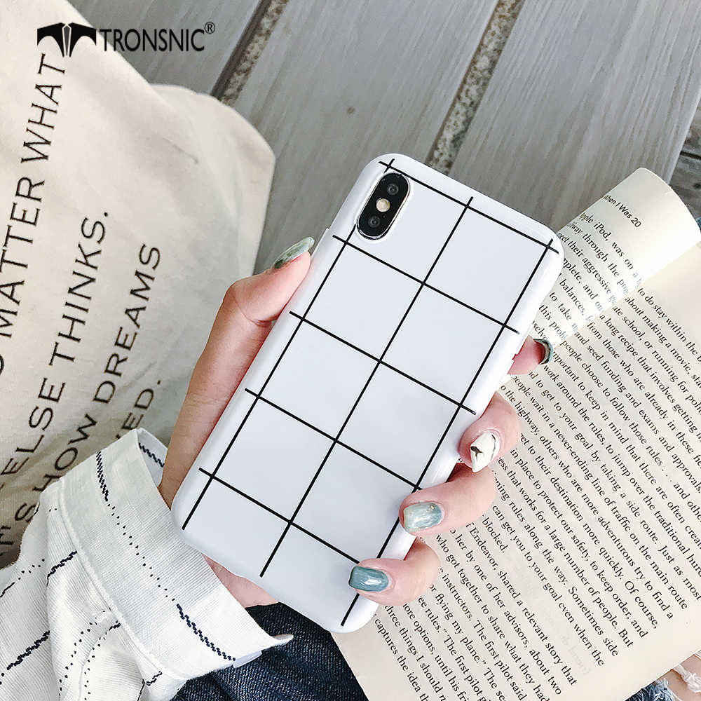 TRONSNIC Plaid Phone Case for iPhone X XS MAX XR Soft Silicone Black White Case for iPhone 6S 7 8 Plus Luxury Covers Hot Fashion