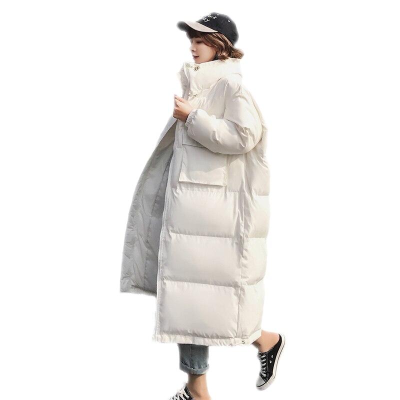 bleu Lâche Dames blanc Occasionnels Hiver Stand Noir Chaud rose Poches Long Coton 2018 C14 Manteaux Col Femme Grandes Femmes Épaississent Down Parkas Vestes Nouveau 1vnqf