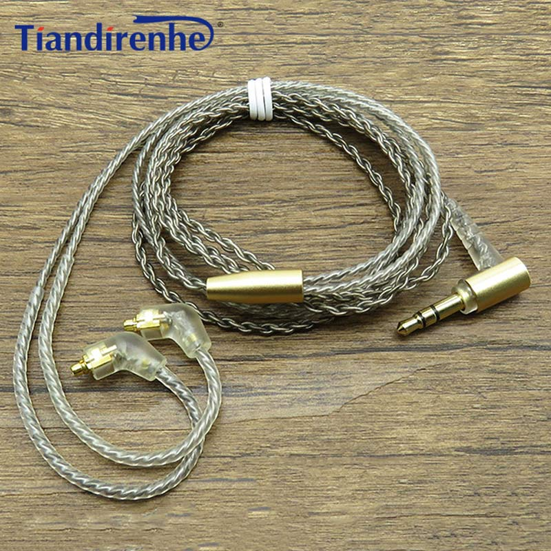 Upgrade 32 cores MMCX Cable for Shure SE215 SE425 SE535 SE846 Earphone Headset Silver Plate Headphone Wire Line Android IOS