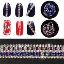 1 box Flat Shape Nail Chain Shining Crystal AB Glitter Rhinestones DIY 3D Crystal Manicure Decor Glue On For Nail Art Tips(China)