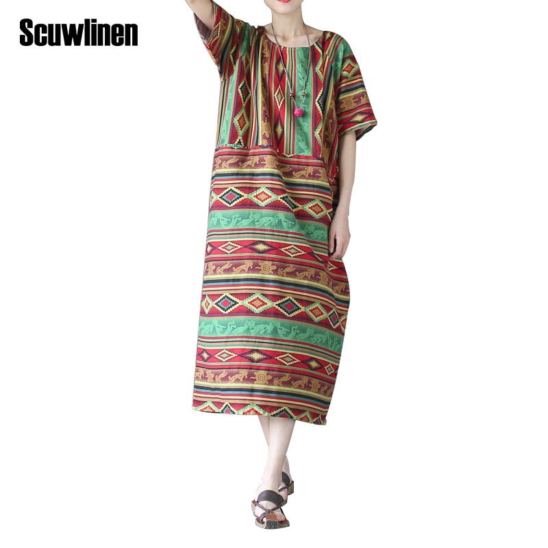 Buy Cheap SCUWLINEN Vestidos 2017 Summer Dress Vintage Geometry Striped Plus Size Loose One-piece Dresses Novelty Cotton Robe Women Dress