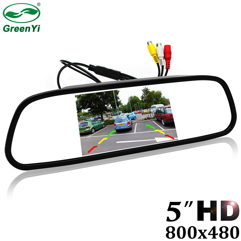 GreenYi 5 Digital Color TFT 800*480 LCD Car Parking Mirror Monitor 2 Video Input For Rear view Camera Parking Assistance System