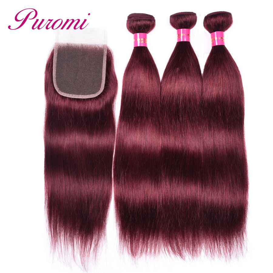 Puromi Straight Hair with Closure 3 Bundles and Closure Malaysian Hair 99j bundles with Closure Human Hair Non Remy Weave