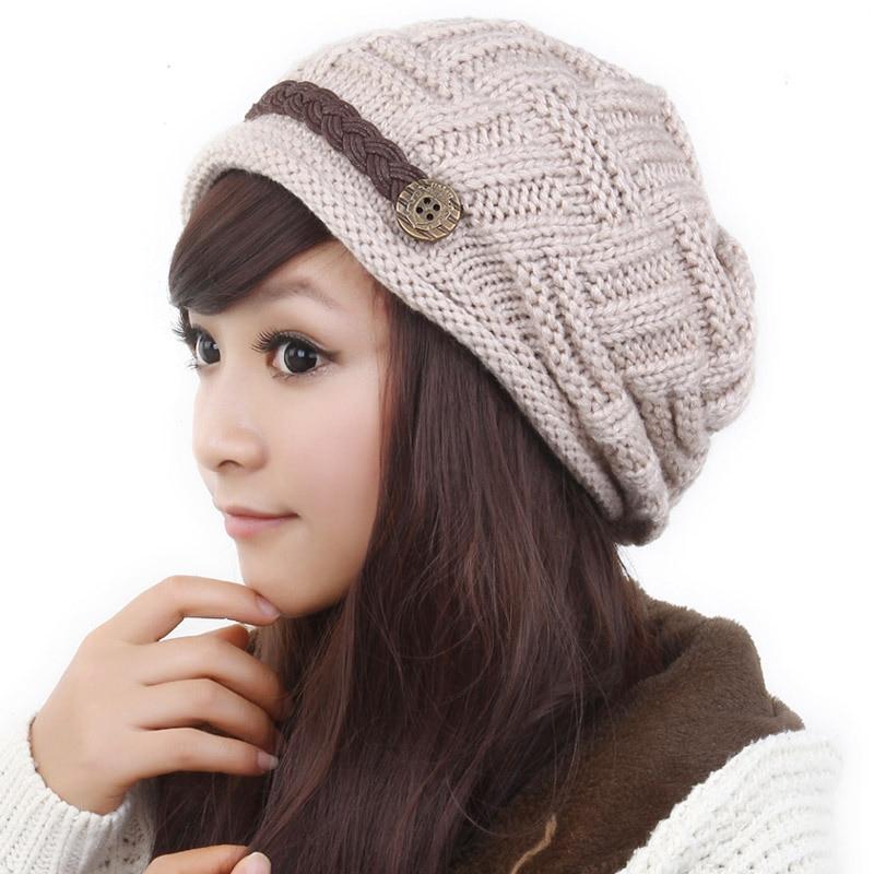Women's Hat Knitting Caps Women's Winter Hats Casual Cap Crochet Beanies Caps Fashion Leisure Warm Hat Beanies Solid Color