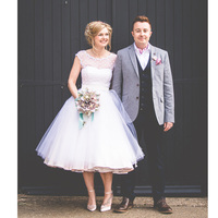 Robe De Mariage White Tulle Cap Sleeves Short Wedding Dresses 2017 Lace Up Back Tea Length
