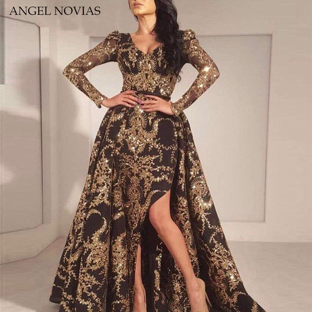 Luxury Black Gold Glitter Mermaid Long Sleeves Evening 2018 Saudi Arabia Dubai Moroccan Sexy Formal Prom Party Gowns