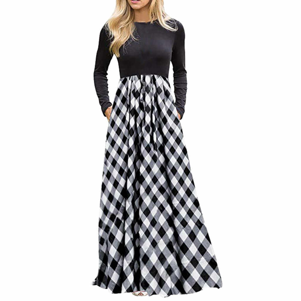 Women's Plaid Long Sleeve Empire Waist Full Length Maxi Elegant Summer Dress Women With Pockets Dress Girl 2019